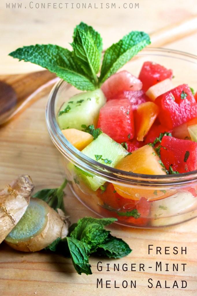 Ginger-Mint Melon Salad Recipe-- perfect summer party food! {Summer Salad Series} makinglemonadeblog.com
