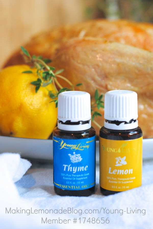 Roasted chicken with essential oils