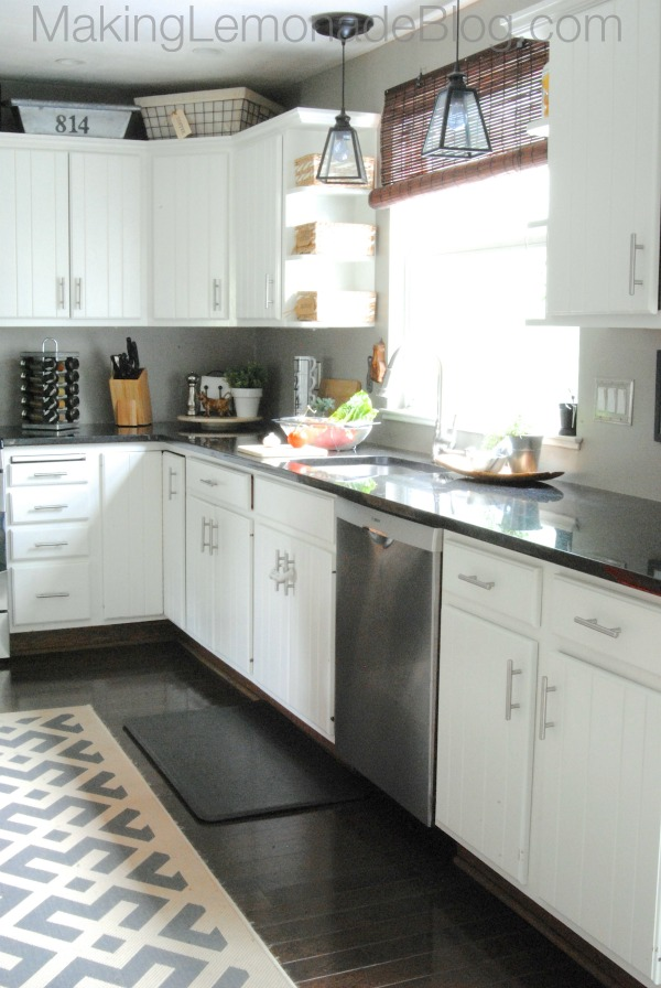 Budget friendly modern white kitchen renovation home tour for Diy small kitchen remodel