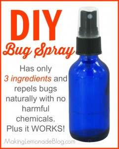 Homemade DIY bug spray using essential oils (and which oils to use to repel various bugs such as mosquitoes, flies, ticks, lice and more!) makinglemonadeblog.com #essentialoils
