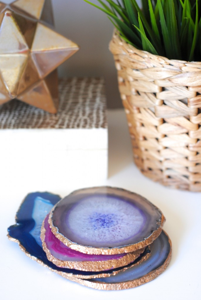 gilded edge agate coasters; high end DIY home decor