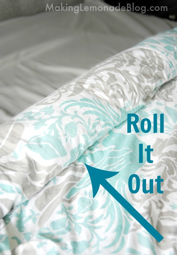 how to put a duvet cover on quickly