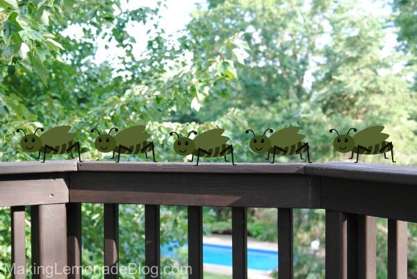 Clip art of flies on a balcony