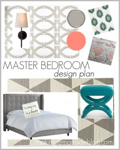Master Bedroom Design Ideas (gray, beige, blue, coral) makinglemonadeblog.com