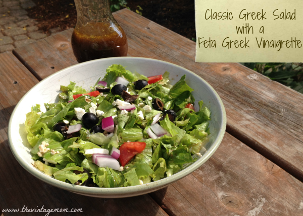 Classic Greek Salad with Feta Greek Vinaigrette {Summer Salad Series}
