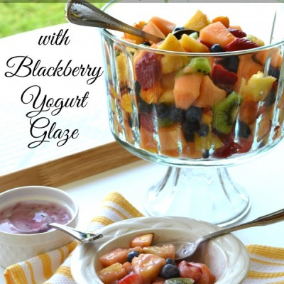 Fresh Fruit Salad with Blackberry Yogurt Glaze {Summer Salad Series}