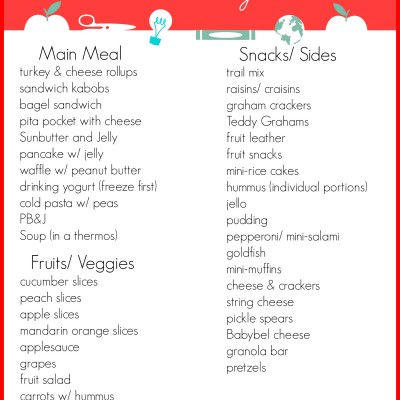 Free Printable: Kids Lunch Ideas They'll Love! {Back to School}