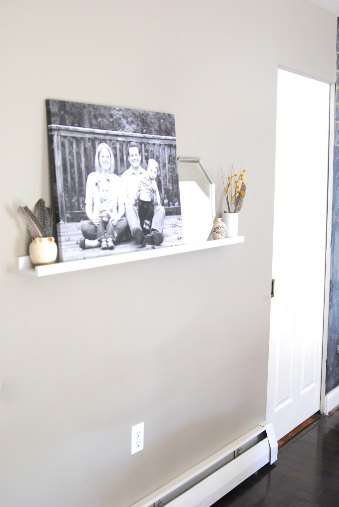Faux Mantel Display Shelf-- Quick way to create your own faux 'mantel' for seasonal decor and to display photos