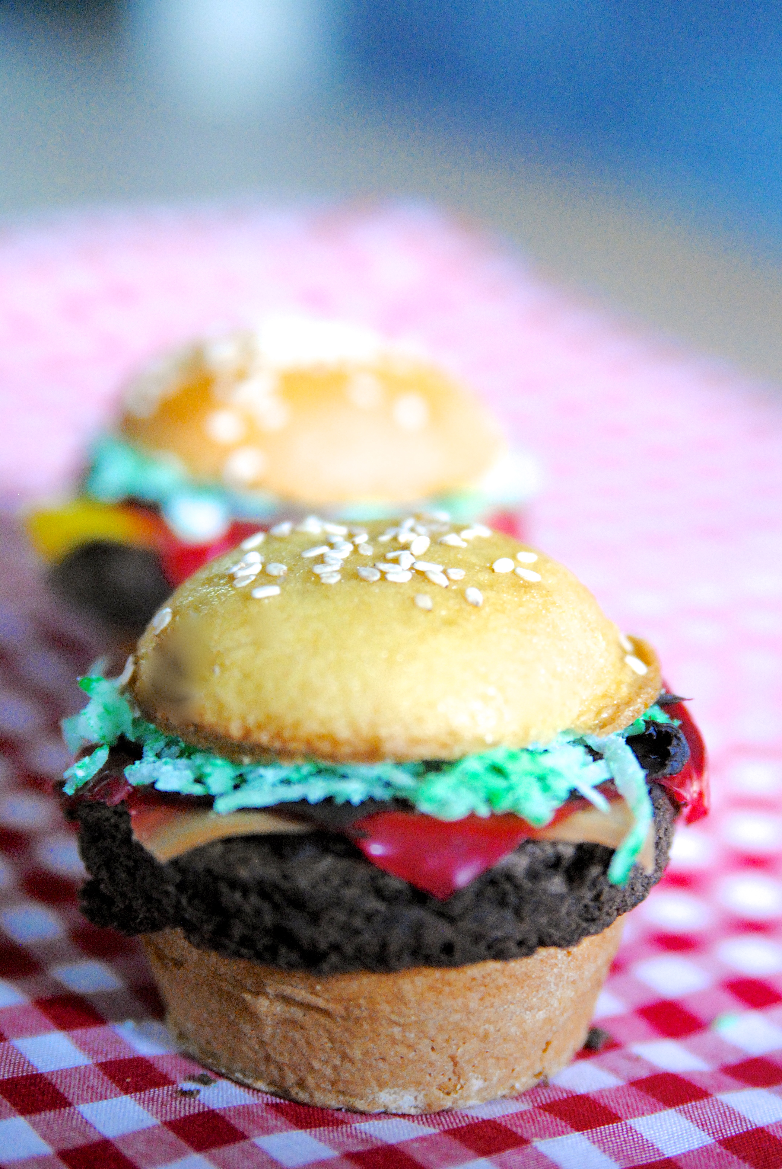 Shhhh... these burgers have a secret. They're not burgers! They're delicious cupcakes!