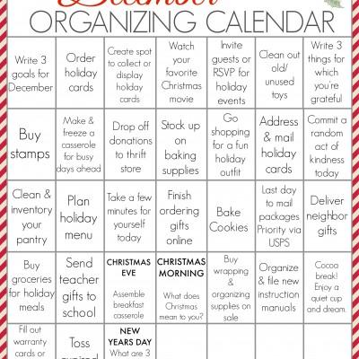 FREE PRINTABLE December Organizing Calendar