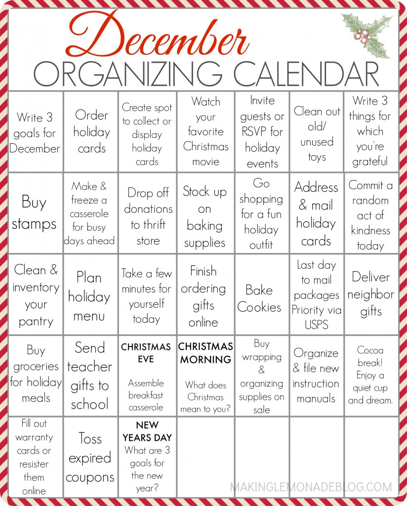 photo relating to Printable December Calendar identify Totally free PRINTABLE December Preparing Calendar Generating Lemonade