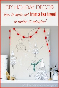 Check out how to make this easy DIY Christmas art from a tea towel! LOVE simple Christmas decorating ideas like this Anthropologie hack!