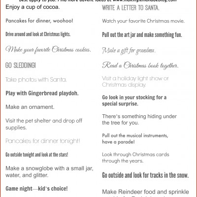 Free Printable: Advent Calendar Activities