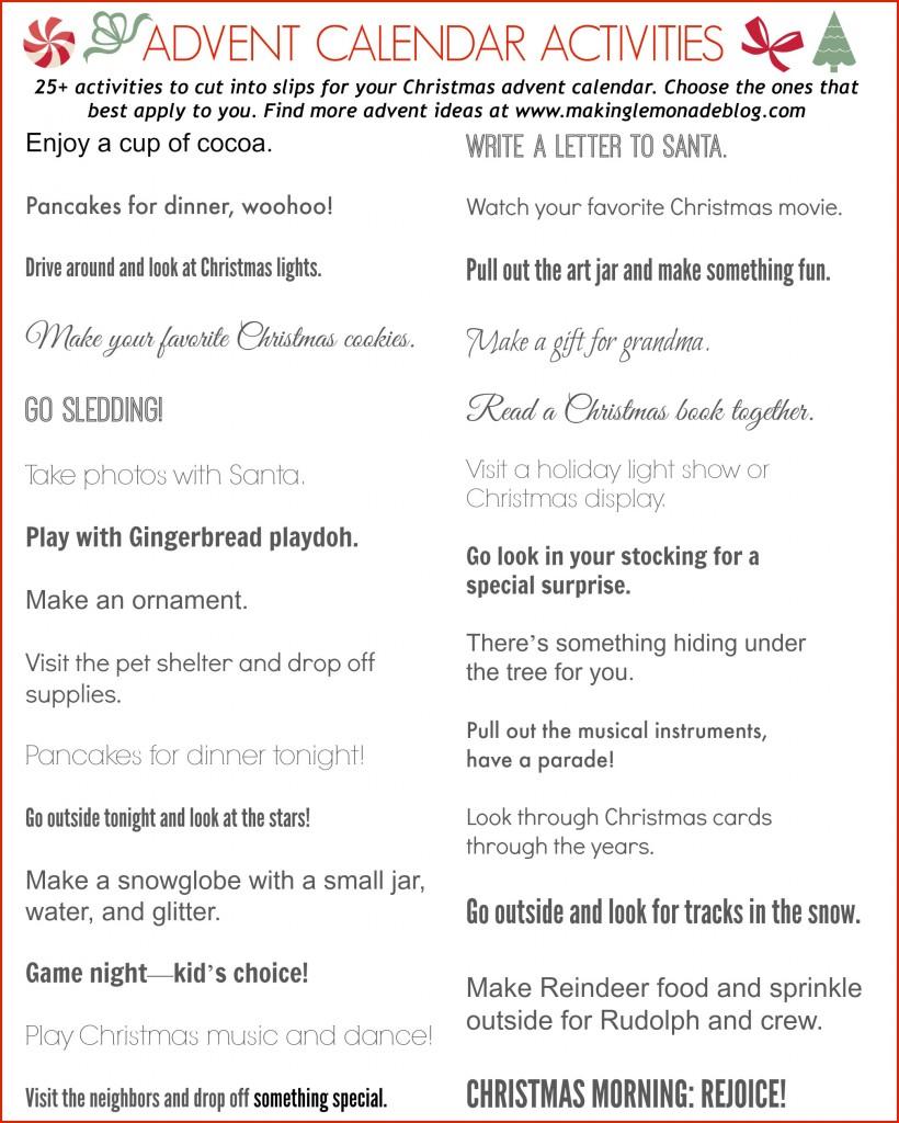 Advent Calendar Art Lesson : Free printable calendar activities
