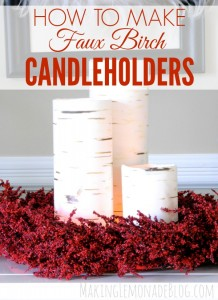 The perfect look for your rustic Christmas decor: DIY faux birch candleholders using thrift store vases. Catch the tutorial to see how to bring this beautiful Christmas decor idea int your home this holiday!