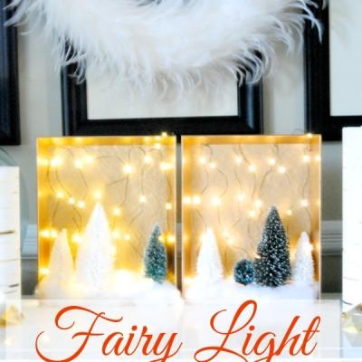 DIY Christmas Woodland Fairy Light Shadow Boxes