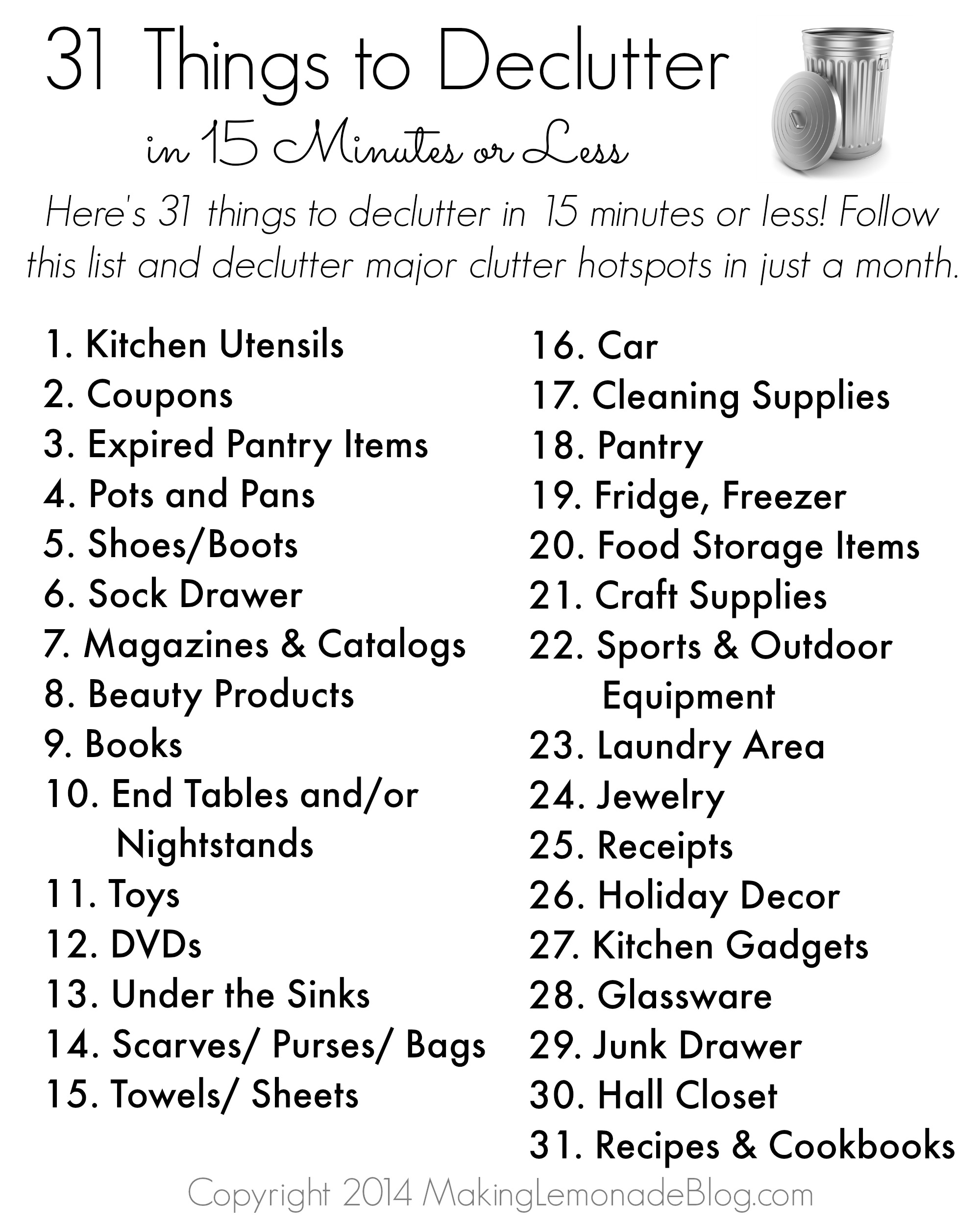 photograph regarding Printable Things named Totally free Printable: 31 Elements toward Decluttter inside 15 Minutes or