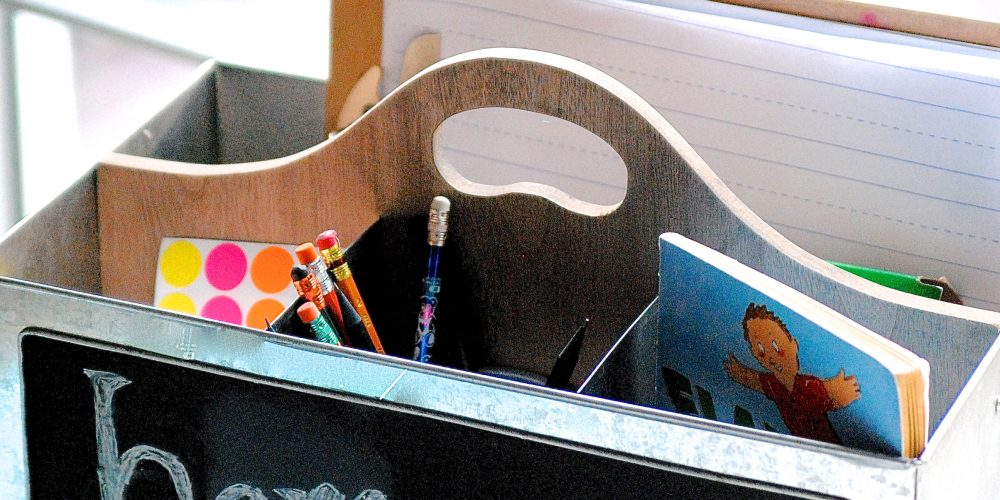 """This simple organizing tip turns """"I HATE HOMEWORK!"""" into a peaceful, hassle free routine. Here's how to set up an organized mobile homework station that fits everyone's needs and makes homework time a breeze."""