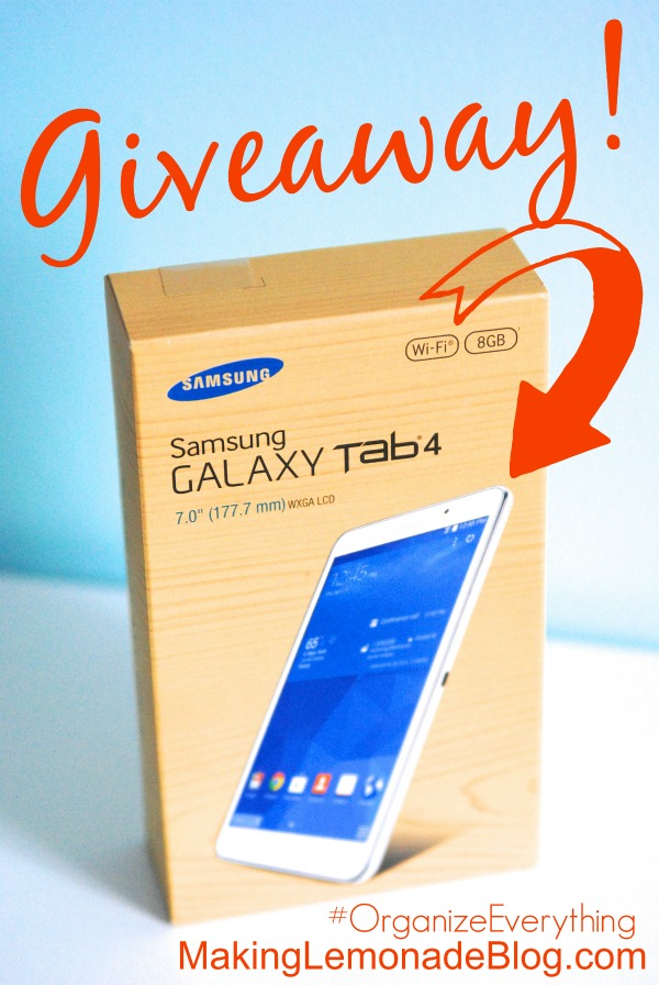 Get organized AND be entered to win a Samsung Galaxy Tab4 in the Organize Everything giveaway!