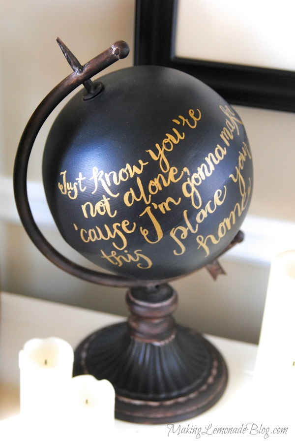 Love this Anthropologie painted globe knockoff-- personalize it with favorite quotes or constellations! So pretty!