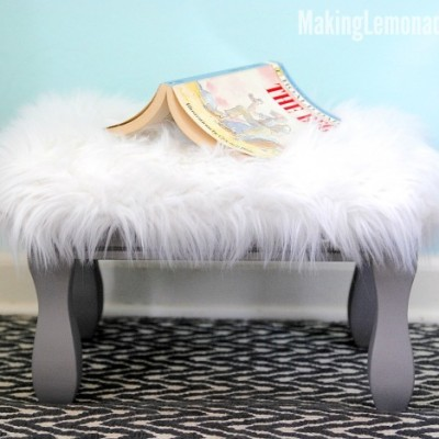 How to Reupholster an Ottoman (with Faux Fur!)