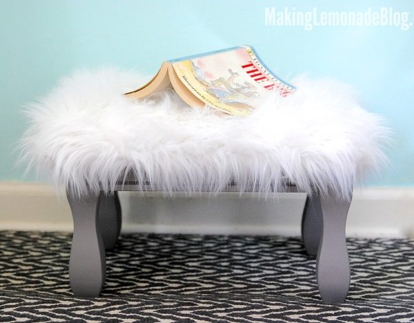 Such a cute idea! Here's how to reupolster a footstool or ottoman; she used faux fur for her daughter's room! Love this!