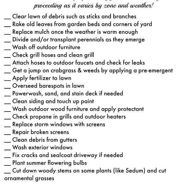 Free Printable Checklist plus tips for spring outdoor home & yard cleanup and maintenance!