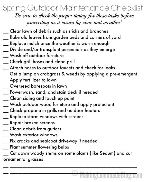 Free Printable Spring Outdoor Maintenance Checklist
