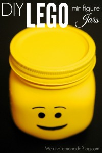 Check out these DIY LEGO minifigure jars-- SUCH a cute idea for LEGO party decorations, favors, or toy storage! Love these!
