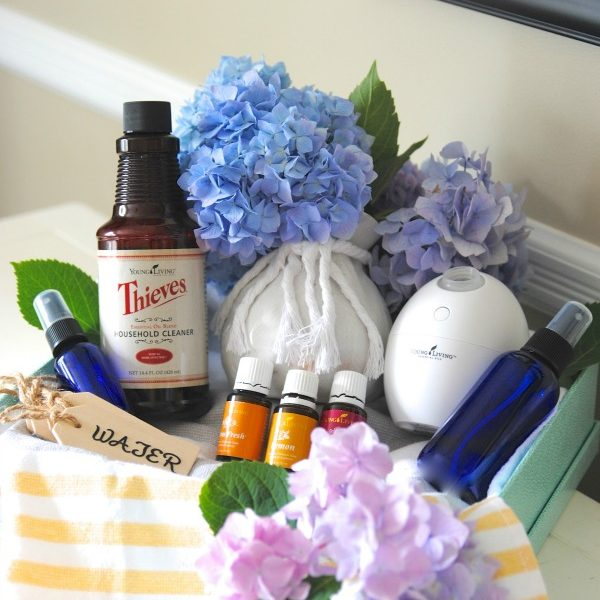 Oooooh, I want someone to make this Young Living housewarming gift basket with essential oil gift ideas for me too. Great ideas for using essential oils around your home!
