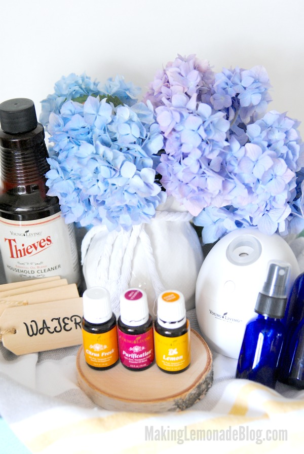 Oooooh, I want someone to make this Young Living housewarming gift basket with essential oil gift ideas for me too!
