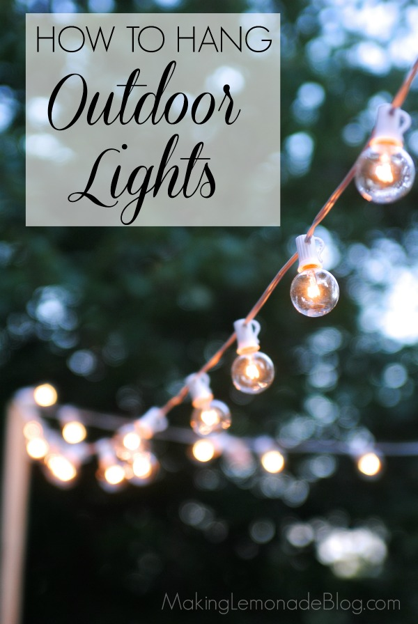 How to hang outdoor string lights the deck diaries part for How to hang string lights on trees
