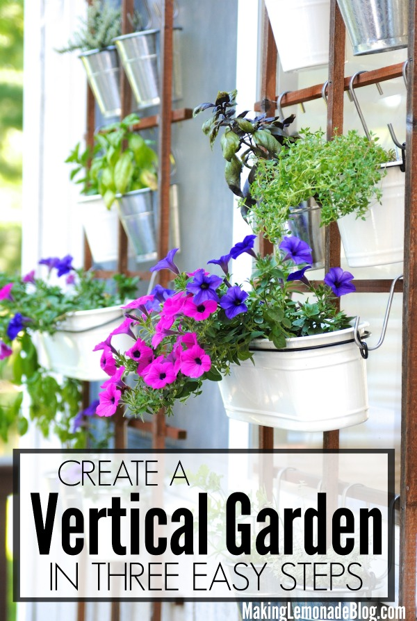What a great way to create a vertical herb container garden on your patio or deck, green thumb not required!