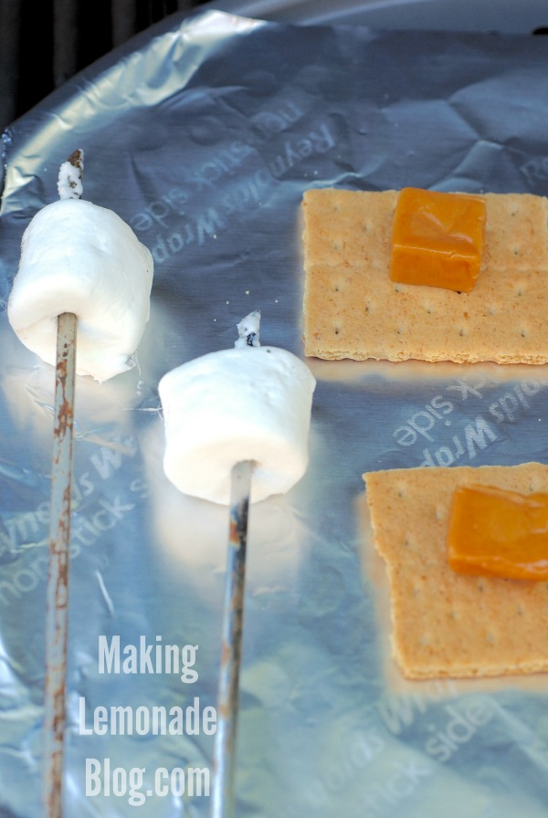 The perfect summer dessert gets an upgrade: how to make Salted Caramel S'Mores, on the grill!