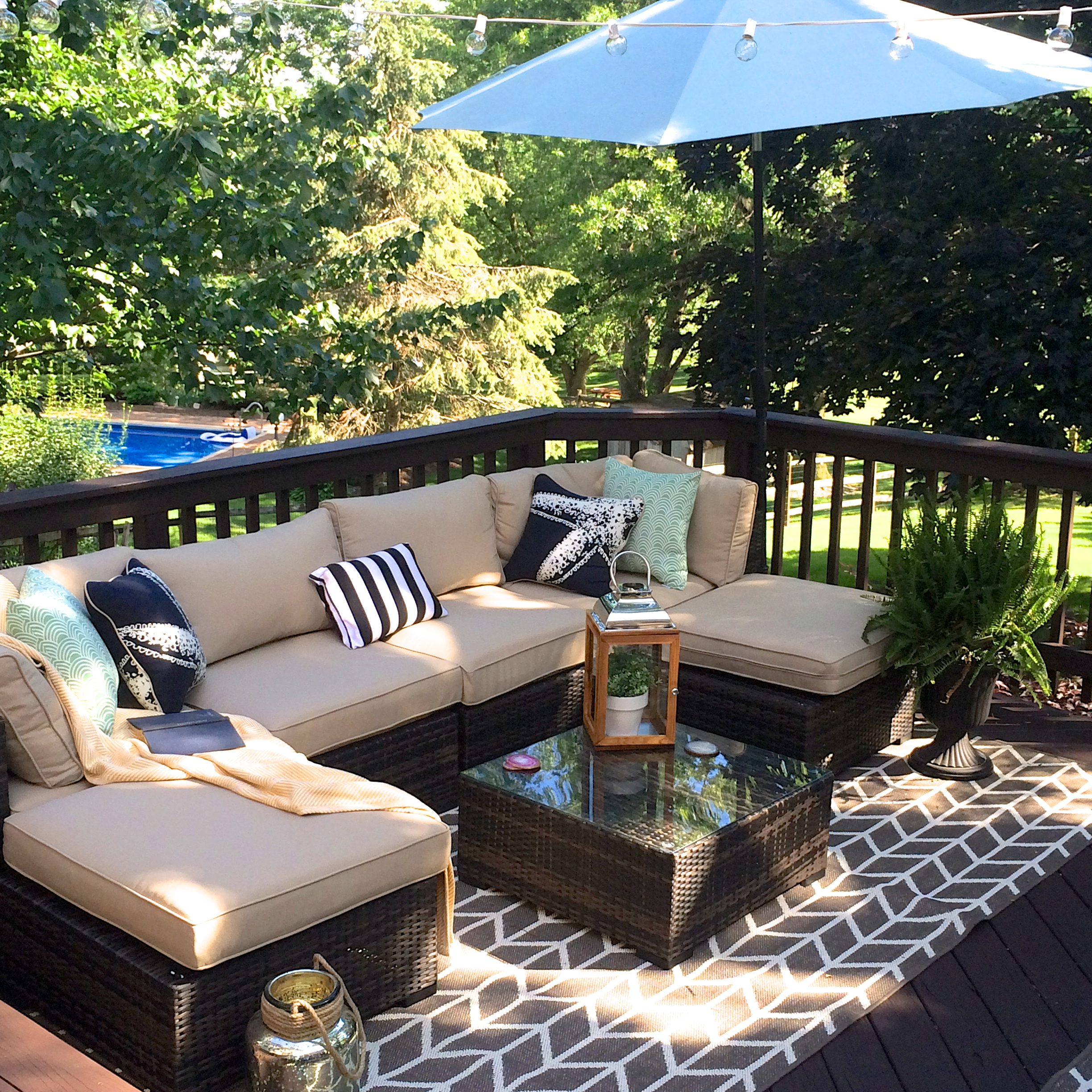Our outdoor living room diy deck makeover reveal for Outdoor deck furniture ideas