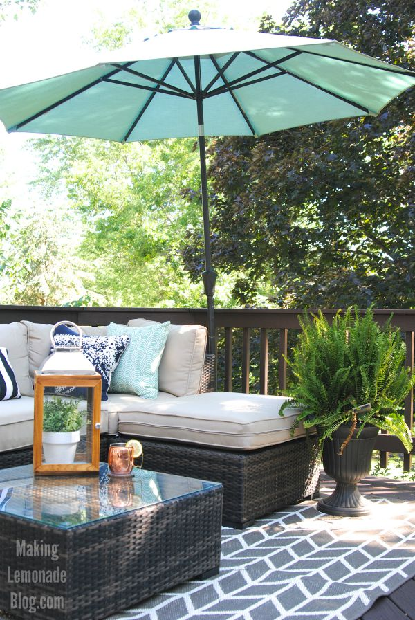 Our outdoor living room diy deck makeover reveal for Building an outdoor room
