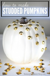 Add some glam to your fall and Halloween decorations with these easy no-carve gold studded pumpkins!