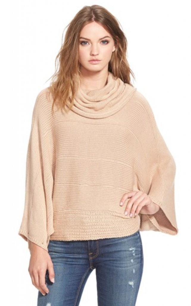 Outfit sources: tan turtleneck poncho, gold lariat hexagon necklace, two-toned boot socks