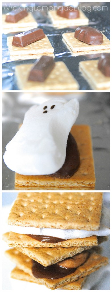 OMG these look so good! Great way to use leftover Halloween candy: Halloween Candy S'Mores with Pumpkin Spice marshmallows!