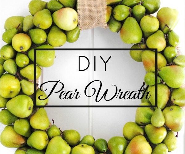 Such a cute fall decorating idea! Use craft store pears to make an easy pear & burlap wreath that will work as decorations through fall, Thanksgiving and Christmas!
