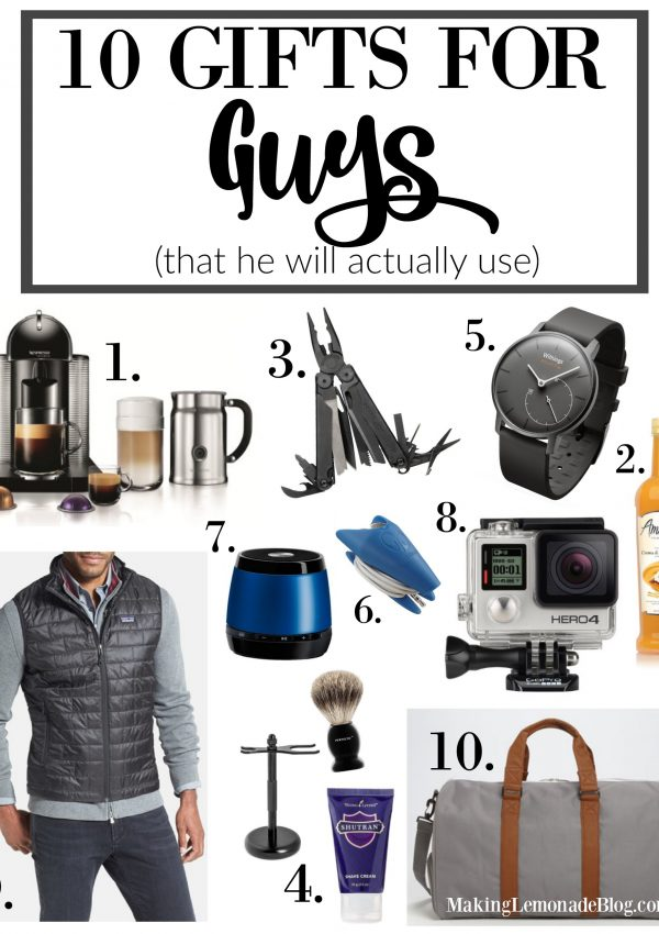 Gifts that he'll actually use and love (the BEST gifts for guys this year!) Holiday Gift Guide for Guys 2015
