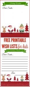 Free Printable Christmas Wishlist for Kids