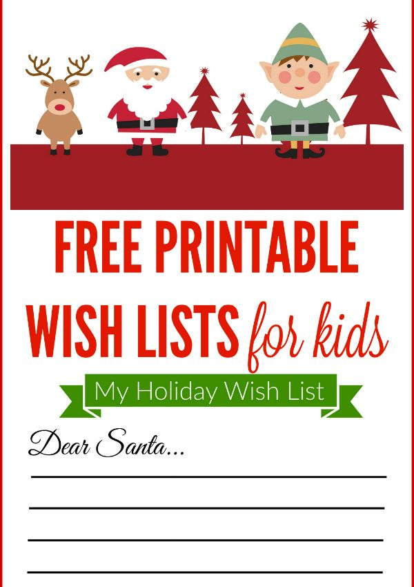 Free Printable Christmas Wishlist for Kids