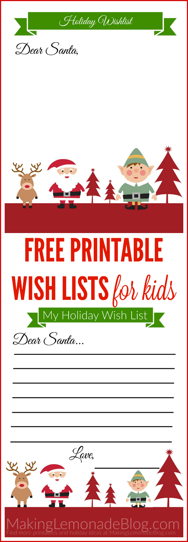 picture regarding Free Printable Christmas Wish List known as Cost-free Printable Holiday vacation Motivation Record for Young children Producing Lemonade
