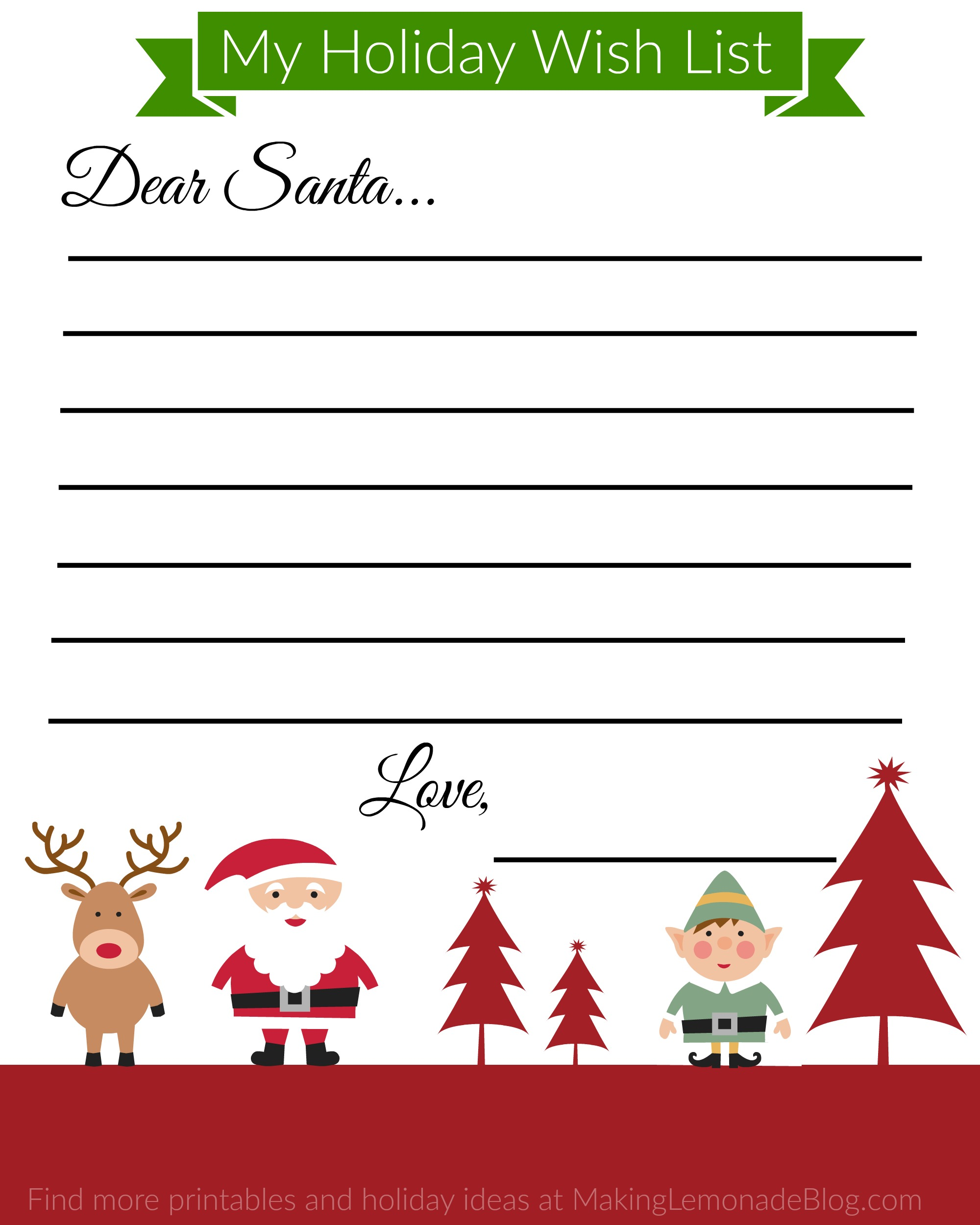 free printable holiday wish list for kids making lemonade