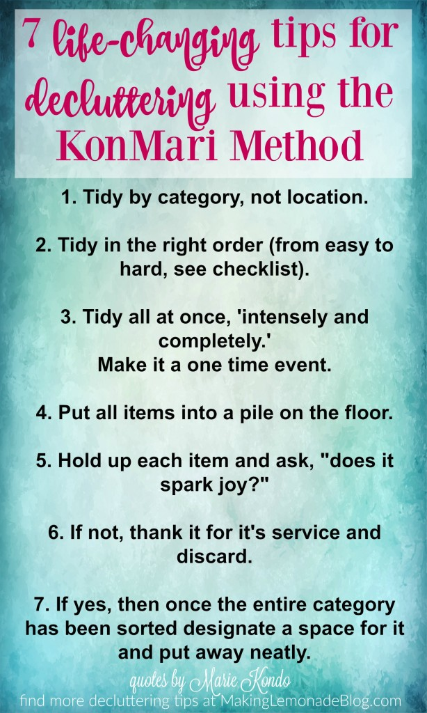 Tips for decluttering with the KonMari method