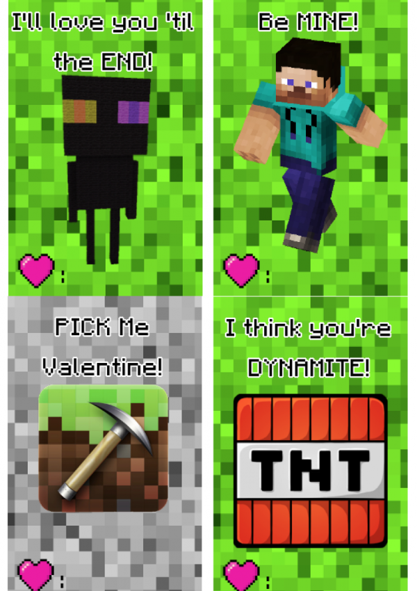 Free Printable Minecraft Valentine's Day Cards