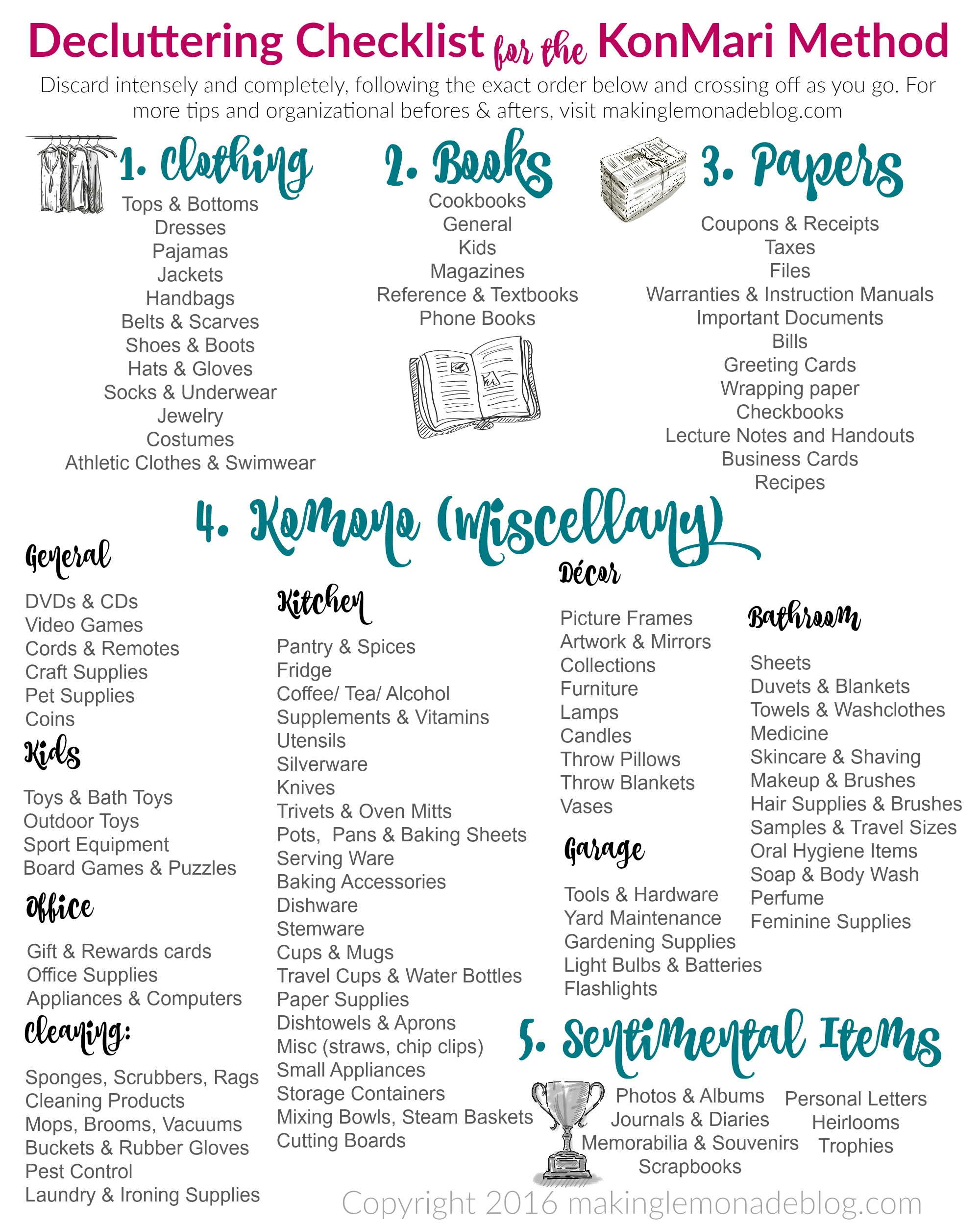 the ultimate free printable decluttering checklist for konmari success making lemonade. Black Bedroom Furniture Sets. Home Design Ideas