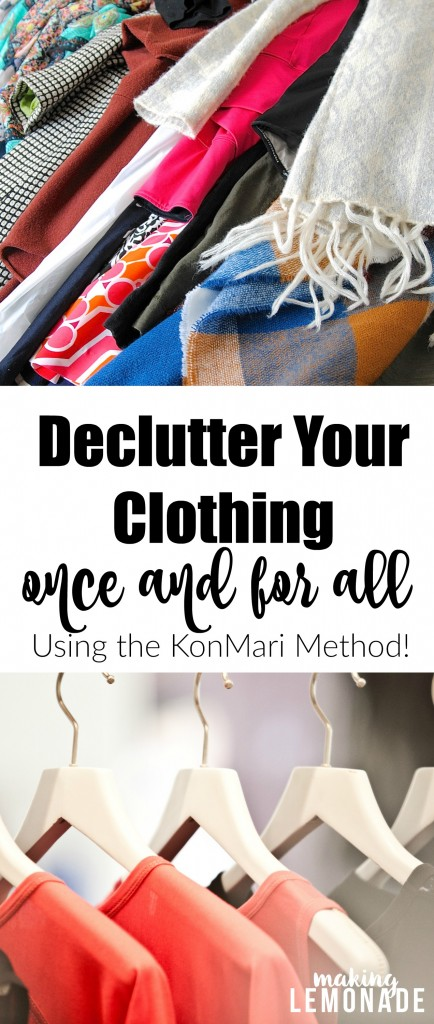 I NEED to do this! Step-by-step tips and advice on how to declutter clothing and closets once and for all using the KonMari Method.