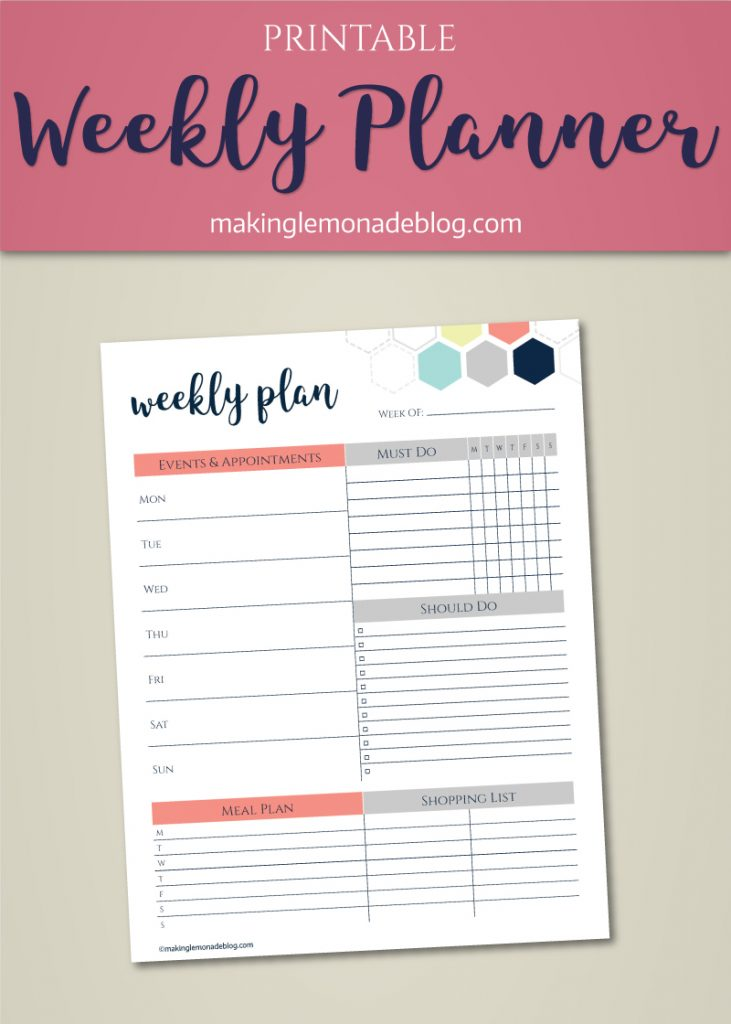 Share this free printable weekly planner with your friends